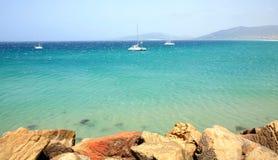 Widok plaża i ocean w Tarifa Hiszpania Obrazy Royalty Free