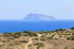 Widok plaża na wyspie Crete Grecja Zdjęcie Stock