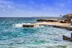 Widok plaża w Menorca, Balearic wyspy, Hiszpania Fotografia Royalty Free