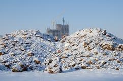 Widok plac budowy w zimie Obrazy Royalty Free