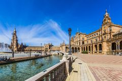 Widok plac De Espana w Seville Hiszpania zdjęcie royalty free