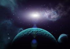 Widok planety, księżyc i wszechświat, ilustracji
