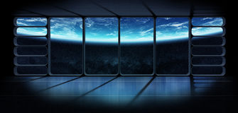 Widok planety ziemia od ogromnego statku kosmicznego nadokiennego 3D renderi Obrazy Stock
