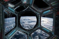 Widok planety ziemia od staci kosmicznej nadokienny 3D odpłaca się el Zdjęcia Royalty Free