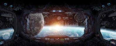Widok planety ziemia z wewnątrz staci kosmicznej ilustracji