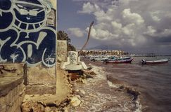 Widok Playa Del Carmen plaża zdjęcie stock