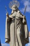 WIDOK podwórze wielka Katolicka statua w świacie statua święty R Santa CRUZ BRAZYLIA, Wrzesień - 25, 2017 - obrazy stock