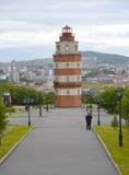 Widok pomnik Ku pamięci żeglarzów które gubili w pokoju czasie murmansk Obraz Stock