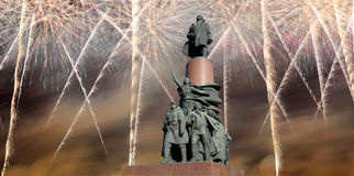 Widok pomnikowy ot Vladimir Lenin 1985, rzeźbiarz Kerbel, architekt Makarevich i fajerwerki, Moskwa Fotografia Royalty Free