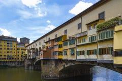 Widok Ponte Vecchio Arno i rzeka Zdjęcie Royalty Free