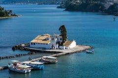 Widok pontikonisi wyspa, Corfu, Grecja Zdjęcia Stock