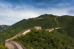 Widok Porcelanowy wielki mur w Mutianyu, Chiny Zdjęcia Royalty Free