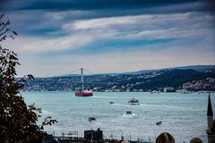 Widok port i most Bosphorous Istanbuł Fotografia Stock