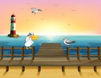 Widok port z ptakami ilustracja wektor