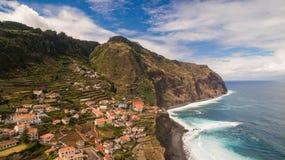 Widok Porto Moniz madery Portugalia antena Zdjęcia Stock