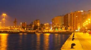 Widok portowa strona przy Algeciras w wieczór Obrazy Stock