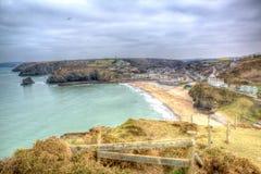Widok Portreath Północny Cornwall Anglia UK między St Agnes i Godrevy w HDR Obraz Stock