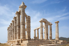 Widok Poseidon świątynia od kąta stylobate fotografia royalty free