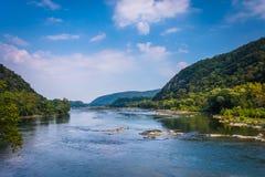 Widok Potomac rzeka od harfiarza promu, Zachodnia Virginia Obrazy Royalty Free
