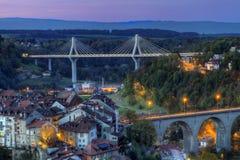 Widok Poya i Zaehringen most, Fribourg, Zdjęcie Stock