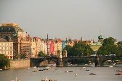 Widok Praga Danube i rzeka Obrazy Stock