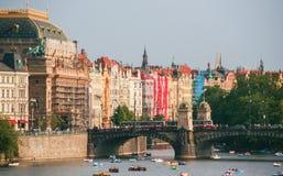 Widok Praga Danube i rzeka Zdjęcia Royalty Free