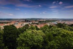 Widok Prague kasztel, St Vitus katedra i Vltava rzeka w Praga z zielonymi drzewami w przedpolu od Petrinska rozhledna towe, Obraz Royalty Free