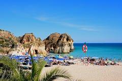 Widok Praia da Rocha plaża, Portimao obrazy royalty free