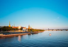 Widok Promenada Daugava, W Ryskim, Latvia Ab Dambis Podróż Obraz Stock