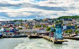 Widok promu terminal przy Horten, Norwegia - Obrazy Stock