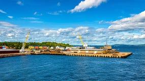 Widok promu terminal przy Horten, Norwegia - Obraz Stock