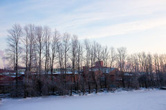 Widok przemysłowy bulwaru Petersburg miasto Zima Zdjęcia Stock