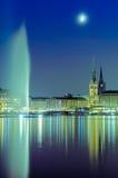 Widok przez Binnenalster, Hamburg, Niemcy Zdjęcie Stock