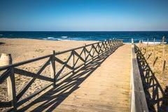 Widok przez drewnianego footbridge, Los Angeles Linea De Los angeles Concepcion, Costa Obrazy Royalty Free