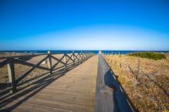 Widok przez drewnianego footbridge, Los Angeles Linea De Los angeles Concepcion, Costa Zdjęcia Royalty Free