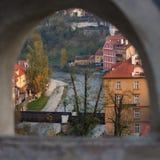 Widok przez grodowego okno Zdjęcia Stock