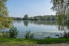 Widok przez jezioro Zdjęcia Royalty Free