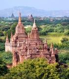Widok przy świątyniami Bagan w Myanmar Obrazy Royalty Free