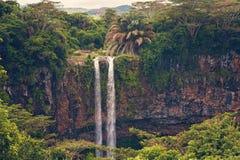 Widok przy chamarel siklawą w Mauritius Zdjęcia Royalty Free