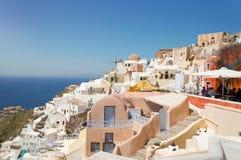 Widok przy Greckim wyspa na morzu egejskim, Santorini Zdjęcie Royalty Free