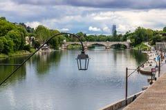 Widok przy Po rzeką w Turyn, Włochy zdjęcie royalty free