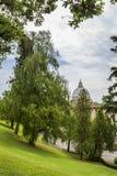 Widok przy St Peter ` s bazyliki bazyliką Di San Pietro od Watykańskich ogródów z pięknymi zielonymi gazonami i drzewami, Rzym, W obraz royalty free