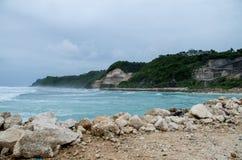 Widok przy terenem wokoło Melasti plaży, Bali, Indonezja Obraz Stock