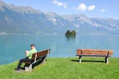 Widok przy wioską Iseltwald na jeziornym Brienz, Szwajcaria Fotografia Stock