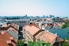 Widok przy Zagreb miastem od górnej części miasteczko, Chorwacja obraz stock