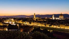 Widok przy zmierzchem miasto Florencja od Michelangelo kwadrata Obraz Royalty Free