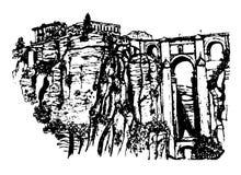 Widok Puente Nuevo most nad rzecznym Guadalevin w Ronda, Andalusia, ręka rysująca nakreślenie grafika Zdjęcia Stock