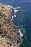 Widok Punta Llana, wyspy kanaryjskie dokąd jest przy losem angeles Gomera Ermita De Nuestra señora de Guadalupe, zdjęcia stock