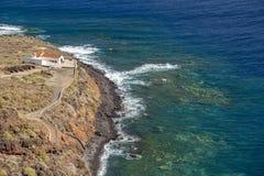 Widok Punta Llana, wyspy kanaryjskie dokąd jest przy losem angeles Gomera Ermita De Nuestra señora de Guadalupe, obrazy stock