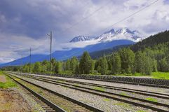 Widok pusta Smithers stacja kolejowa kolumbiów brytyjskiej lotniczego Vancouver w centrum widok zdjęcie stock